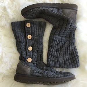 UGG Gray Knit Short Boots